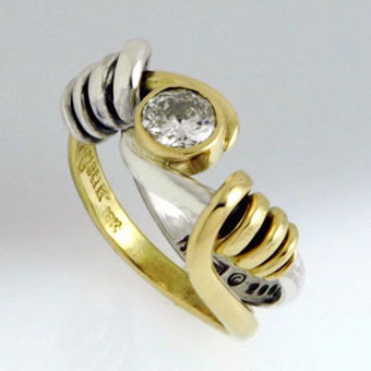 18K Gold, Sterling Silver and Diamond