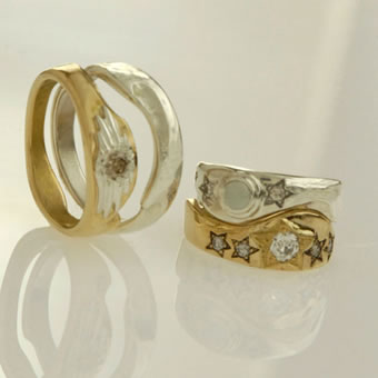 18K Gold, Sterling Silver and Diamond Ring Set