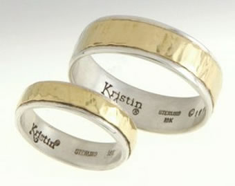 18K Gold and Sterling Silver Band Ring Set