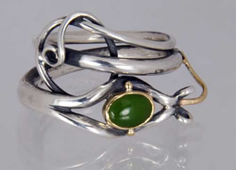 Sterling Silver with 14K Gold and Jade