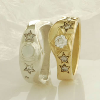 18K Gold, Sterling Silver Stars Ring Set