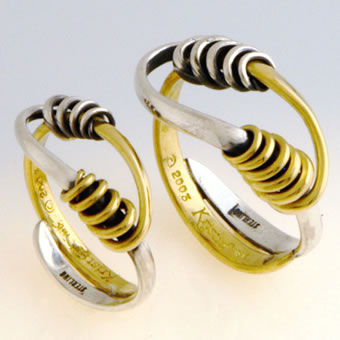 18K Gold and Sterling Silver Twisted Bi Metal Ring Set