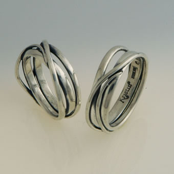 Sterling Silver Twisted Ring Set
